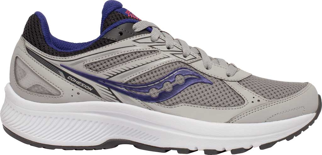 Women's Saucony Cohesion 14 Running Sneaker, Grey/Purple, large, image 2