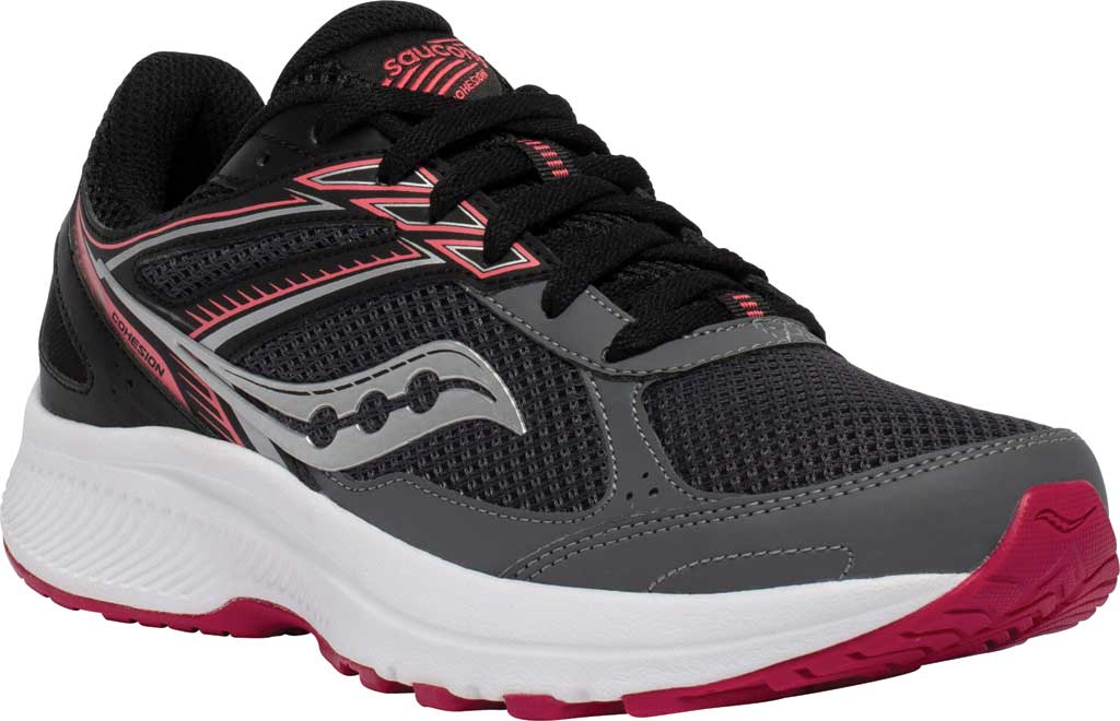 Women's Saucony Cohesion 14 Running Sneaker, Charcoal/Coral, large, image 1