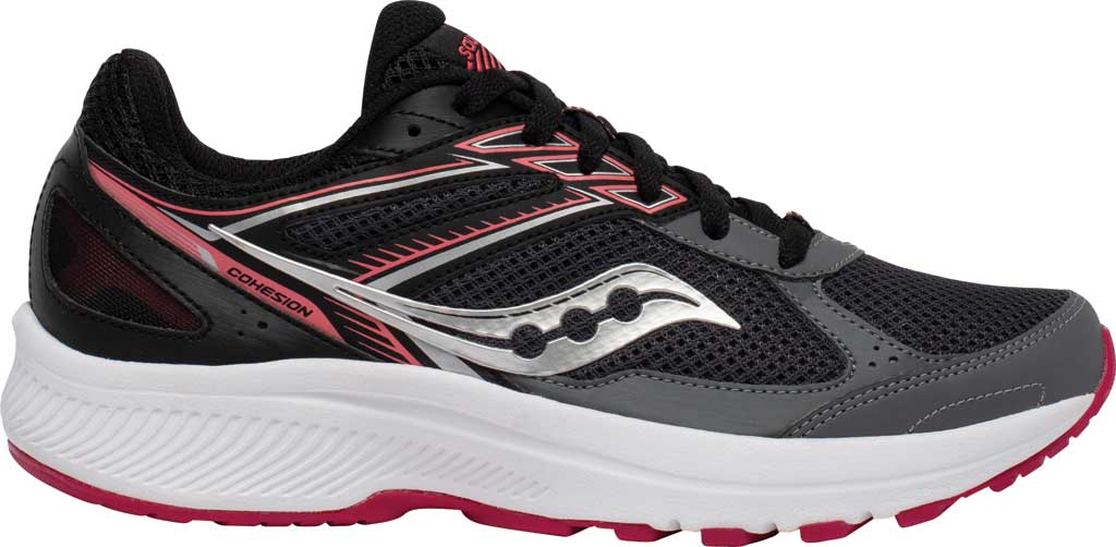 Women's Saucony Cohesion 14 Running Sneaker, Charcoal/Coral, large, image 2