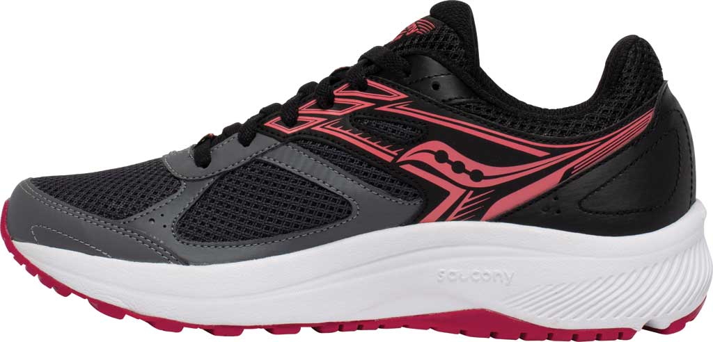 Women's Saucony Cohesion 14 Running Sneaker, Charcoal/Coral, large, image 3