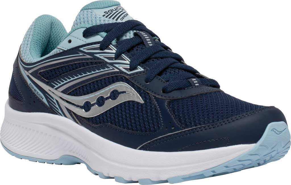 Women's Saucony Cohesion 14 Running Sneaker, Navy/Sky, large, image 1