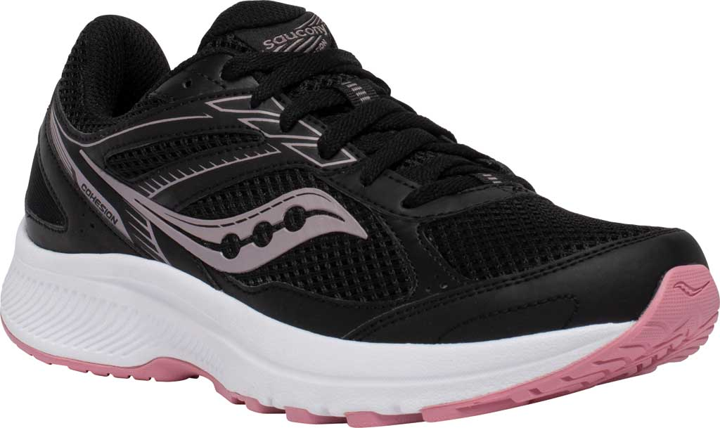 Women's Saucony Cohesion 14 Running Sneaker, Black/Pink, large, image 1