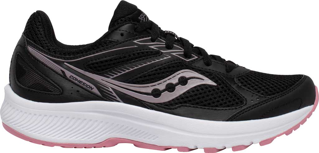Women's Saucony Cohesion 14 Running Sneaker, Black/Pink, large, image 2