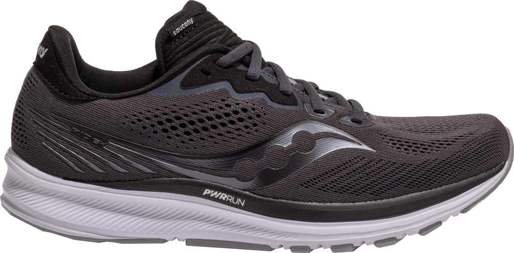 Men's Saucony Ride 14 Running Sneaker, Charcoal/Black, large, image 2