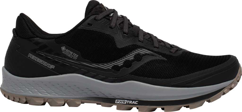 Men's Saucony Peregrine 11 GORE-TEX Running Sneaker, Black/Gravel, large, image 2