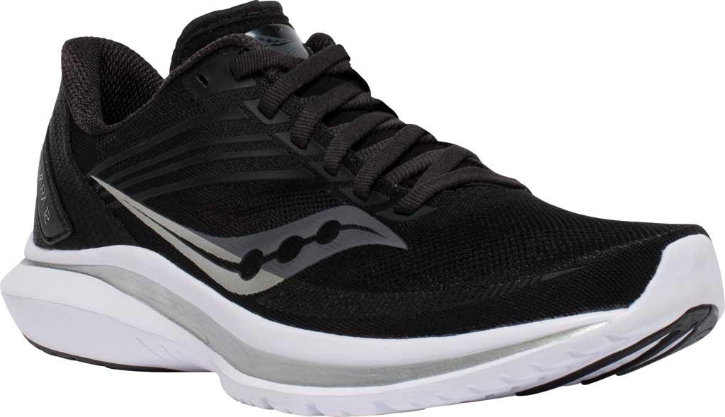 Women's Saucony Kinvara 12 Running Sneaker, Black/Silver, large, image 1