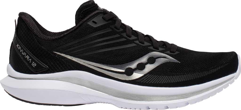 Women's Saucony Kinvara 12 Running Sneaker, Black/Silver, large, image 2