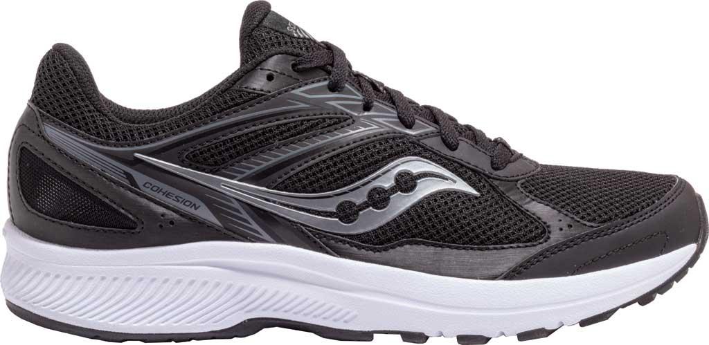 Men's Saucony Cohesion 14 Running Sneaker, Black/White, large, image 1