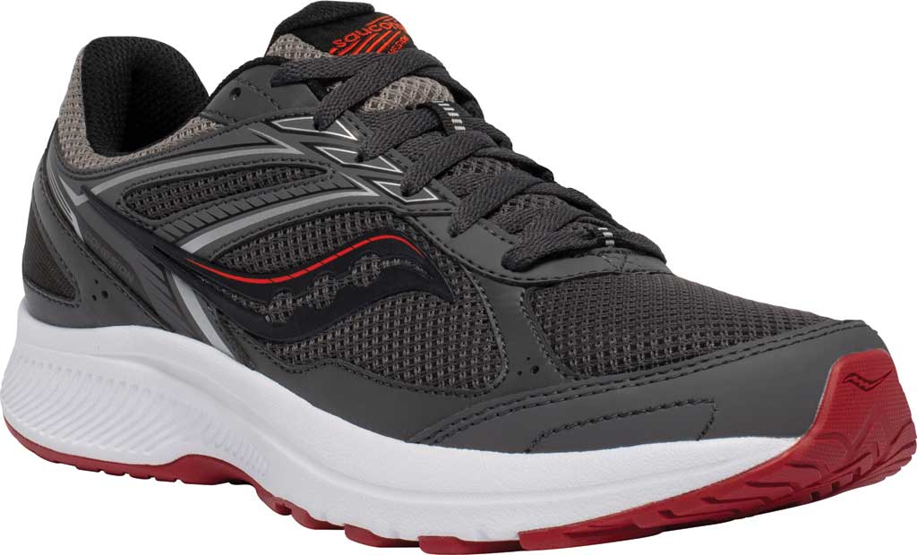 Men's Saucony Cohesion 14 Running Sneaker, Charcoal/Red, large, image 1