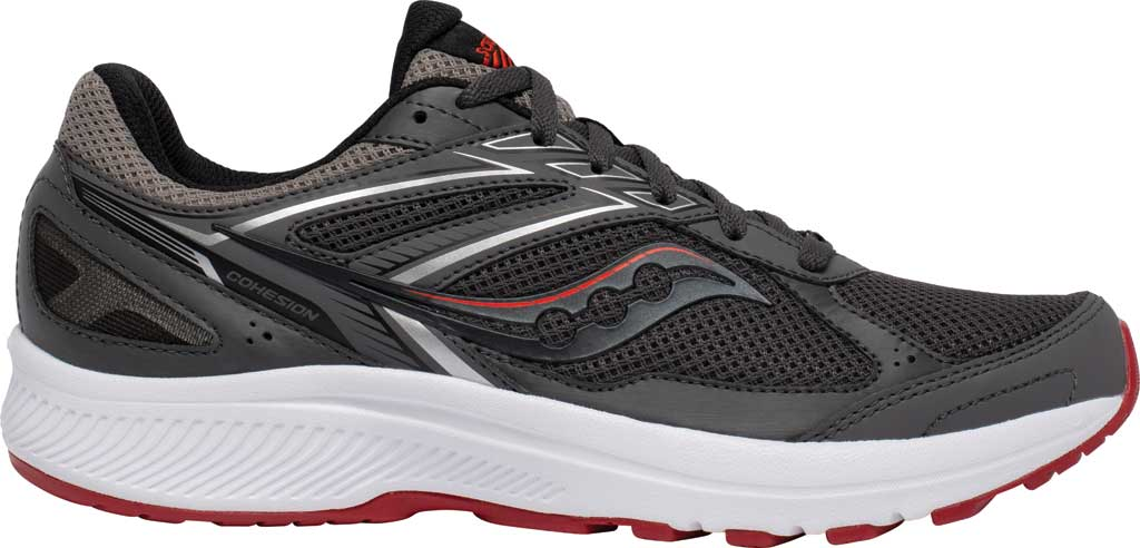 Men's Saucony Cohesion 14 Running Sneaker, Charcoal/Red, large, image 2