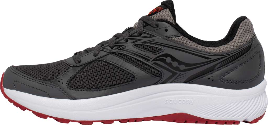Men's Saucony Cohesion 14 Running Sneaker, Charcoal/Red, large, image 3