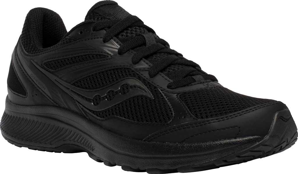 Men's Saucony Cohesion 14 Running Sneaker, Black/Black, large, image 1