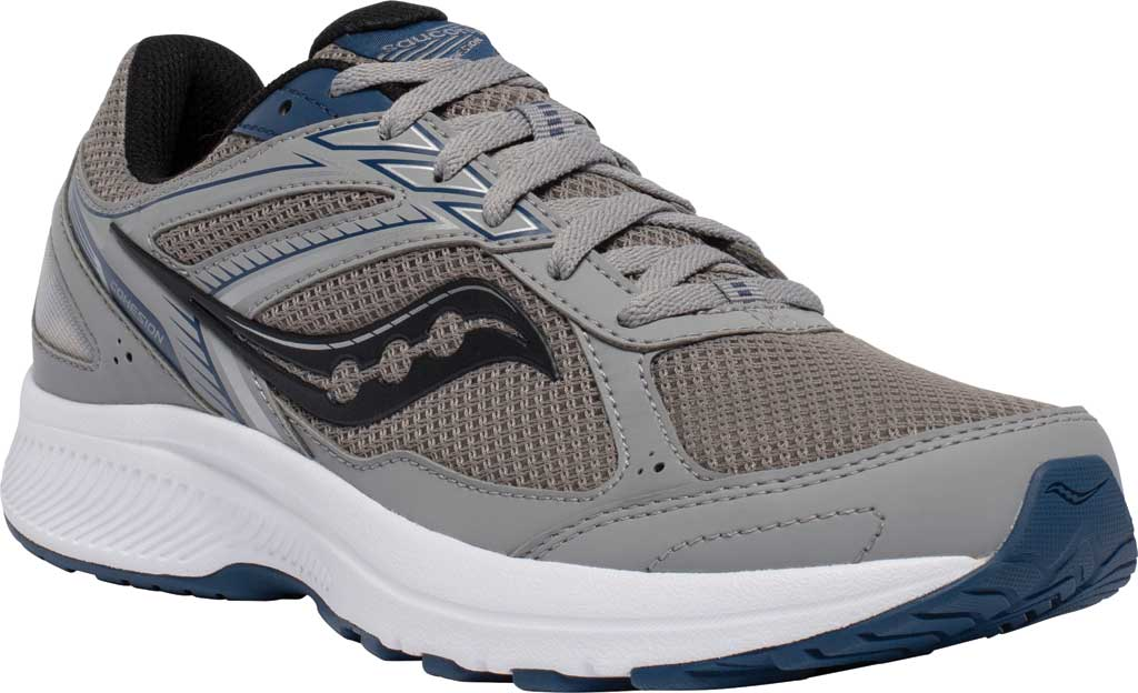 Men's Saucony Cohesion 14 Running Sneaker, Grey/Blue, large, image 1