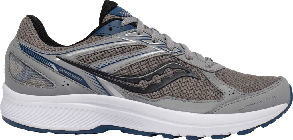 Men's Saucony Cohesion 14 Running Sneaker, Grey/Blue, large, image 2