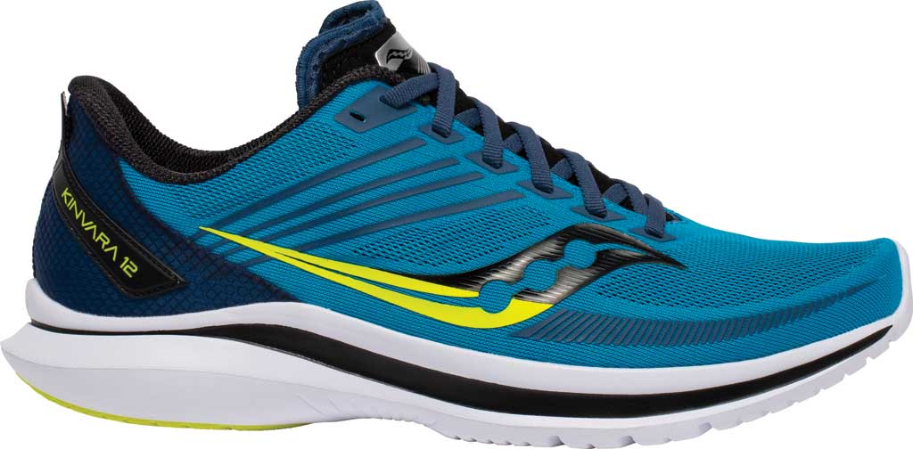Men's Saucony Kinvara 12 Running Sneaker, Cobalt/Citrus, large, image 2