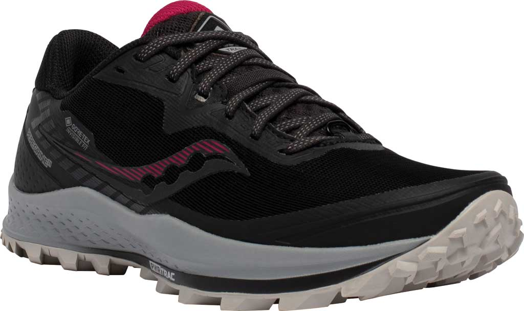 Women's Saucony Peregrine 11 GORE-TEX Running Sneaker, Black/Cherry, large, image 1