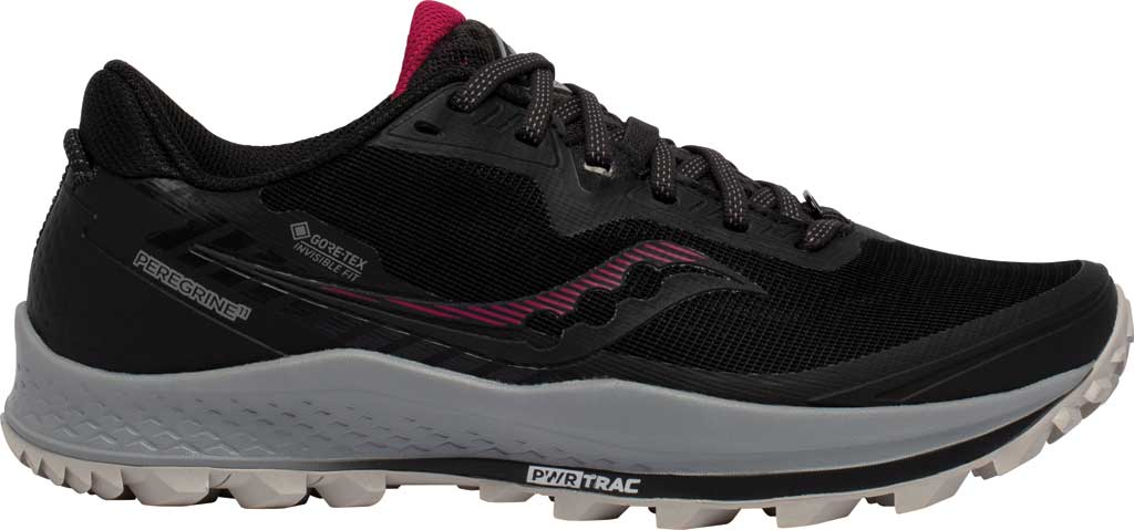 Women's Saucony Peregrine 11 GORE-TEX Running Sneaker, Black/Cherry, large, image 2