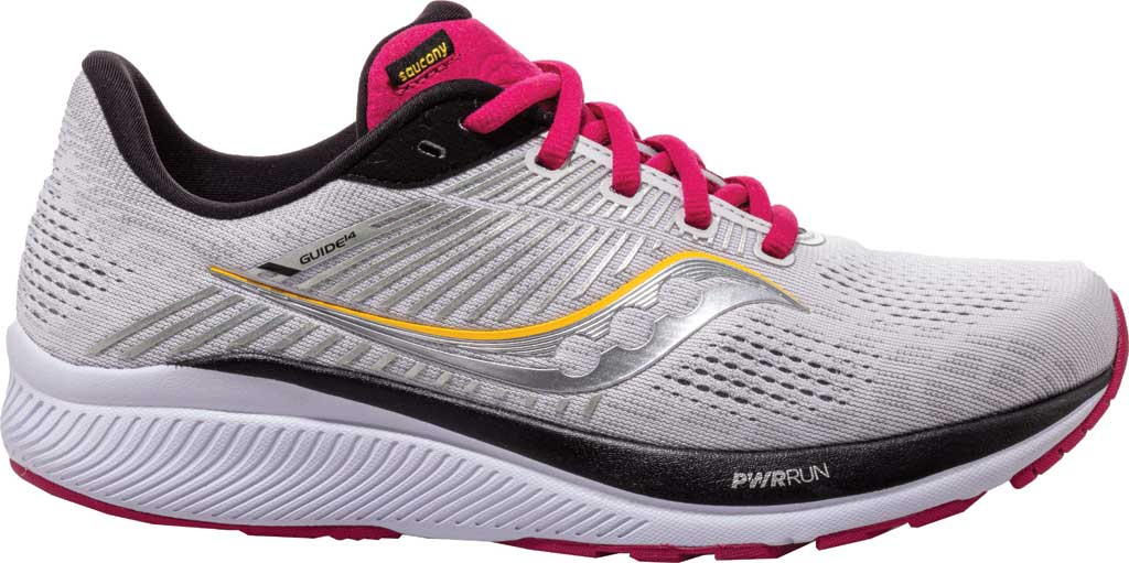 Women's Saucony Guide 14 Running Sneaker, Alloy/Cherry, large, image 1