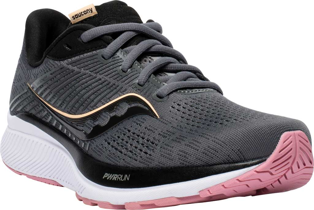 Women's Saucony Guide 14 Running Sneaker, Charcoal/Rose, large, image 1