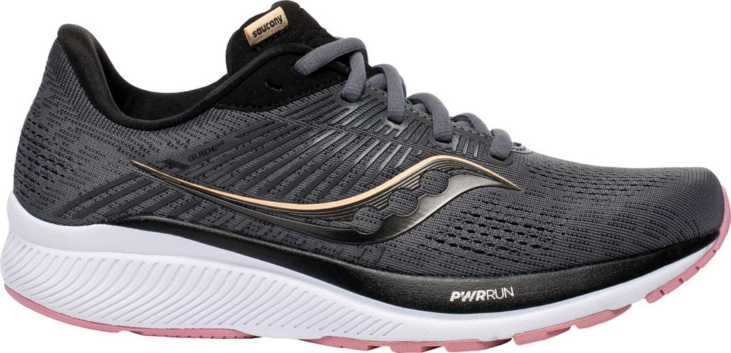 Women's Saucony Guide 14 Running Sneaker, Charcoal/Rose, large, image 2