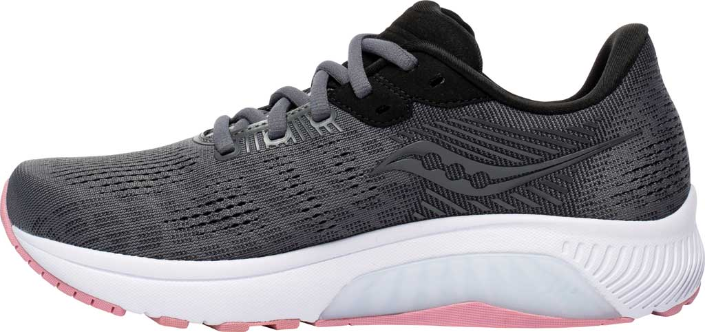 Women's Saucony Guide 14 Running Sneaker, Charcoal/Rose, large, image 3