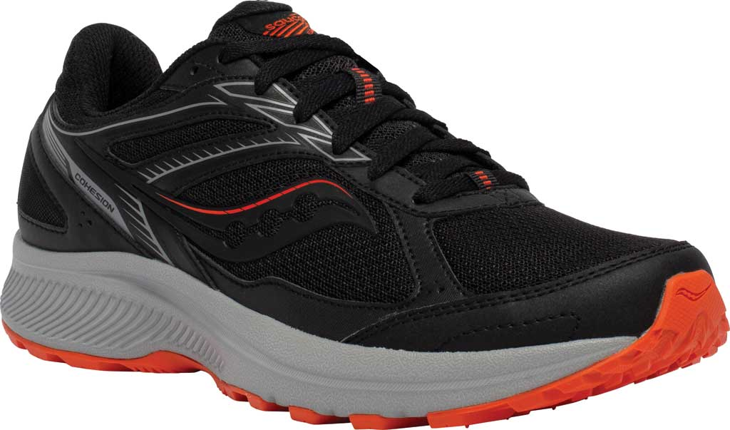Men's Saucony Cohesion TR14 Trail Running Sneaker, Black/Tomato, large, image 1