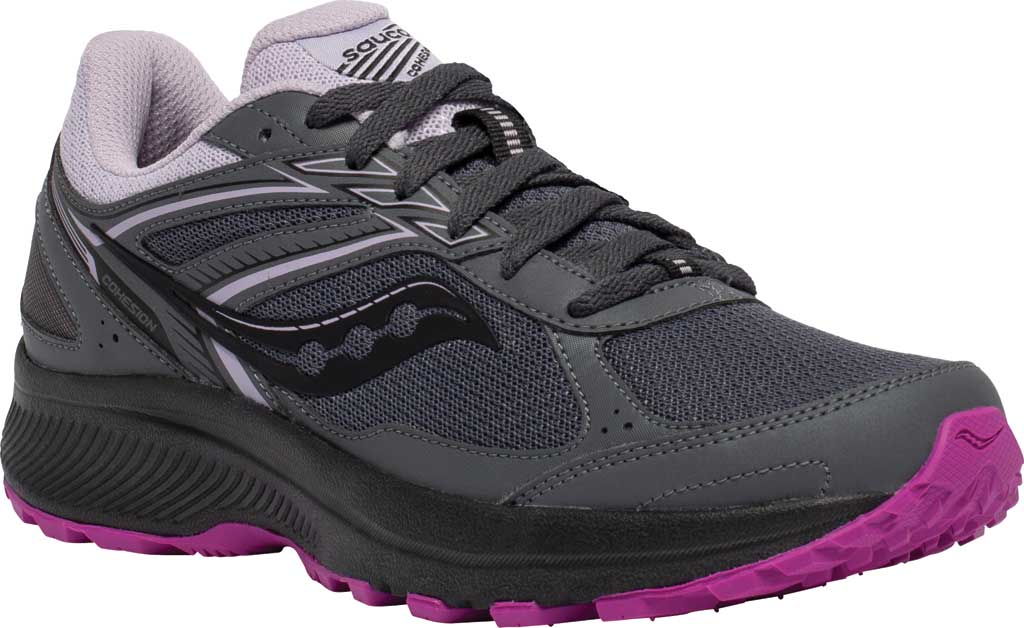 Women's Saucony Cohesion TR14 Trail Running Sneaker, Charcoal/Lilac, large, image 1