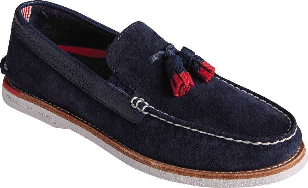 Men's Sperry Top-Sider Authentic Original Tassel Kiltie Loafer, Navy/Red Suede, large, image 1
