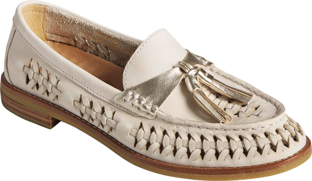 Women's Sperry Top-Sider Seaport Plushwave Woven Kiltie Loafer, Ivory Woven Leather, large, image 1