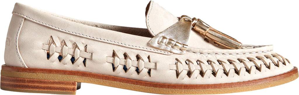 Women's Sperry Top-Sider Seaport Plushwave Woven Kiltie Loafer, Ivory Woven Leather, large, image 2