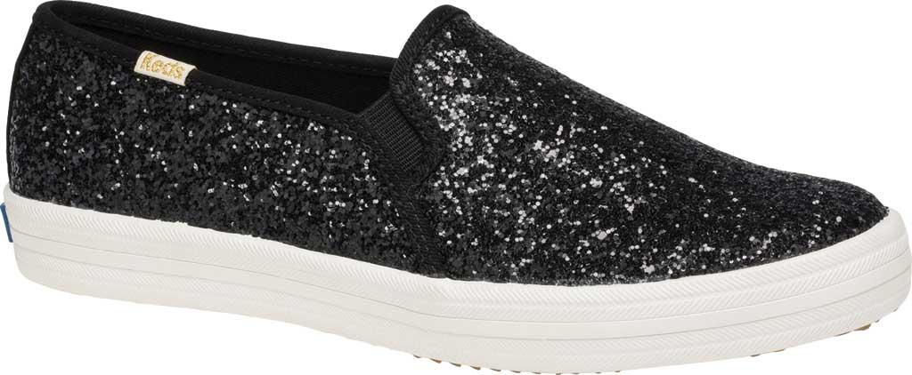 Women's Keds Kate Spade Double Decker Glitter Slip On Sneaker, Black Glitter, large, image 1