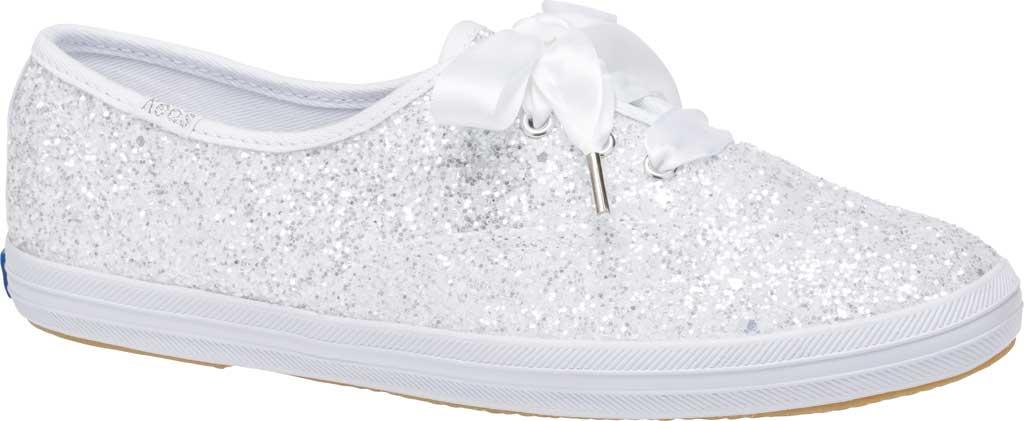Women's Keds Kate Spade Champion Glitter Sneaker, White Canvas, large, image 1