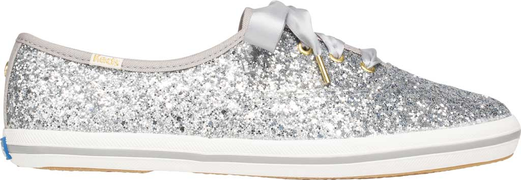 Women's Keds Kate Spade Champion Glitter Sneaker, Silver Canvas, large, image 2
