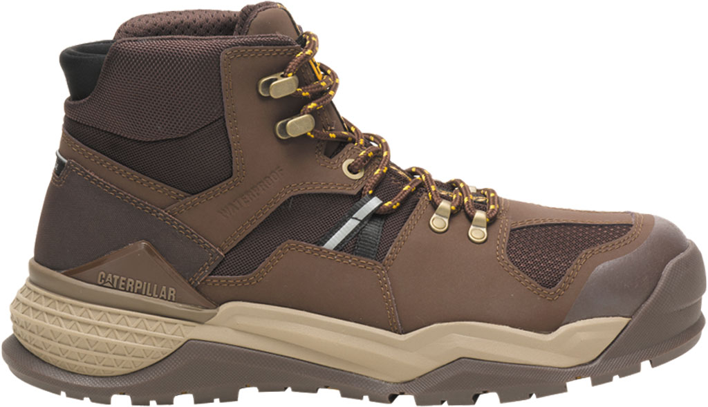 Men's Caterpillar Provoke Mid Alloy Toe Waterproof Boot, Chocolate PU Coated Waterproof Leather, large, image 2
