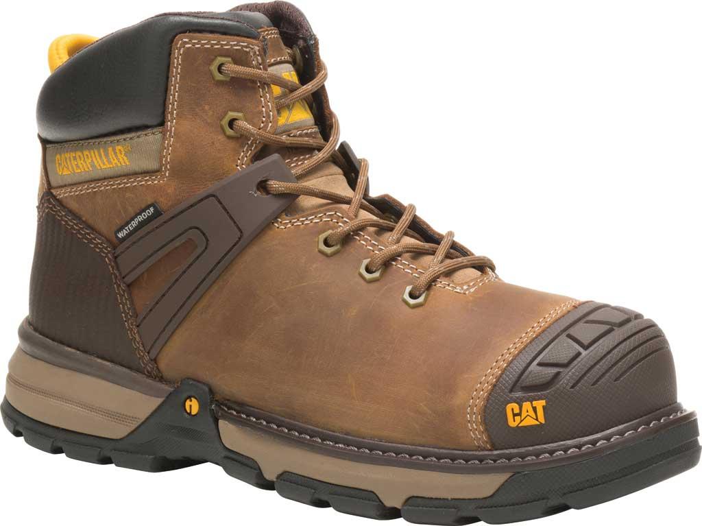 Men's Caterpillar Excavator Superlite Waterproof Boot, Dark Beige Full Grain Leather, large, image 1