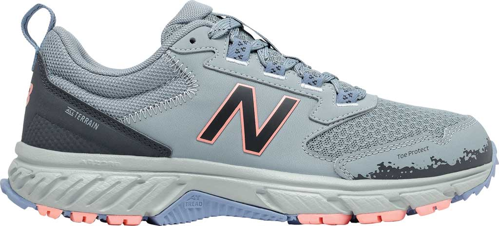Women's New Balance 510v5 Trail Running Shoe, Cyclone/Outer Space/Stellar Blue/Paradise Pink, large, image 2