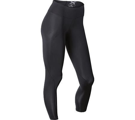 Women's 2XU Mid-Rise Compression Tight, Black/Dotted Black Logo, large, image 1