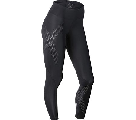Women's 2XU Mid-Rise Compression Tight, Black/Dotted Reflective Logo, large, image 1