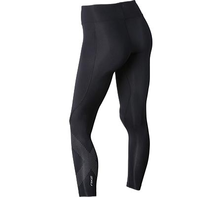 Women's 2XU Mid-Rise Compression Tight, Black/Dotted Reflective Logo, large, image 2