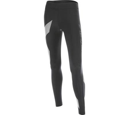 Women's 2XU Mid-Rise Compression Tight, Black/Striped White, large, image 1