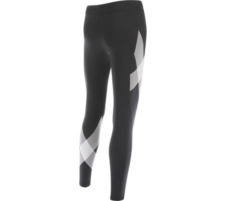 Women's 2XU Mid-Rise Compression Tight, Black/Striped White, large, image 2