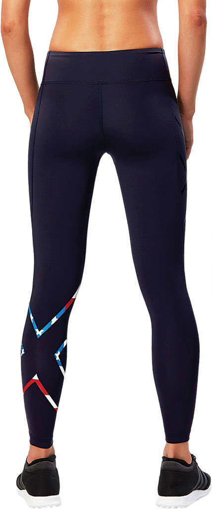Women's 2XU Mid-Rise Compression Tight, Navy/USA Stars N Stripes, large, image 2
