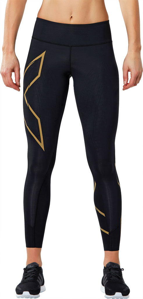 Women's 2XU MCS Run Compression Tight, Black/Gold, large, image 1