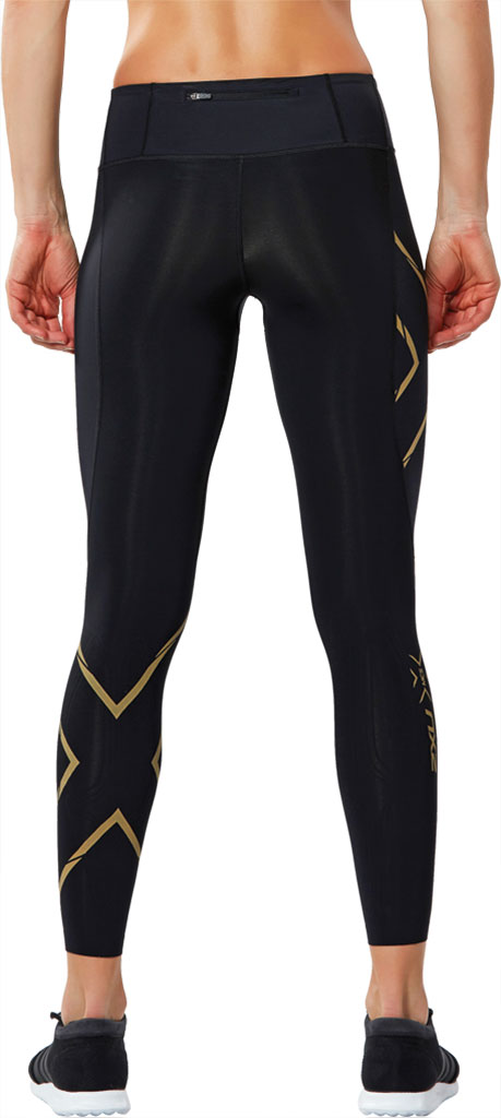 Women's 2XU MCS Run Compression Tight, Black/Gold, large, image 2