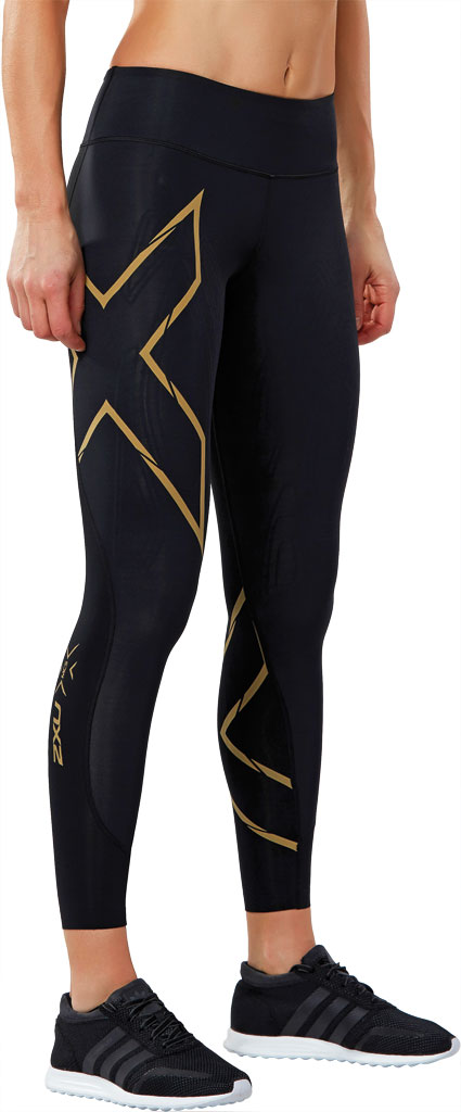 Women's 2XU MCS Run Compression Tight, Black/Gold, large, image 3
