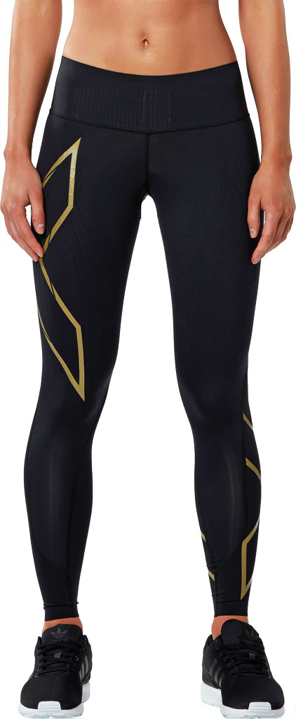 Women's 2XU MCS Bonded Mid-Rise Compression Tight, Black/Gold, large, image 1