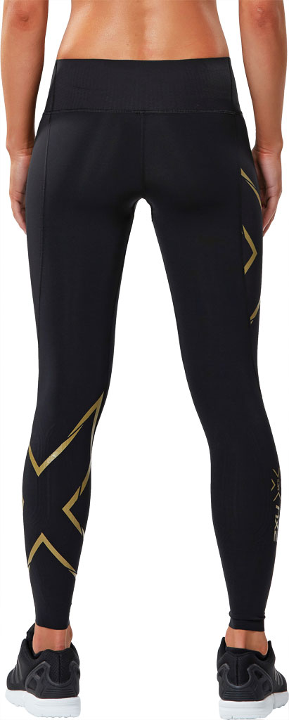 Women's 2XU MCS Bonded Mid-Rise Compression Tight, Black/Gold, large, image 2