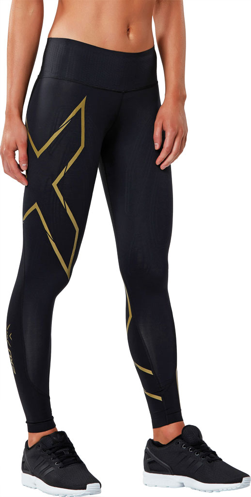 Women's 2XU MCS Bonded Mid-Rise Compression Tight, Black/Gold, large, image 3