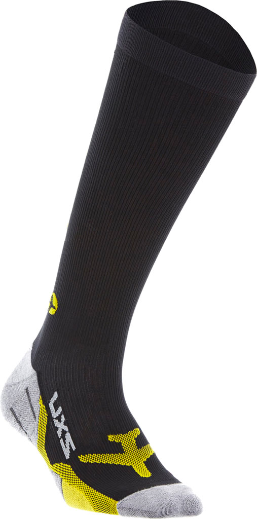 Women's 2XU Flight Compression Sock, Black/Yellow, large, image 1