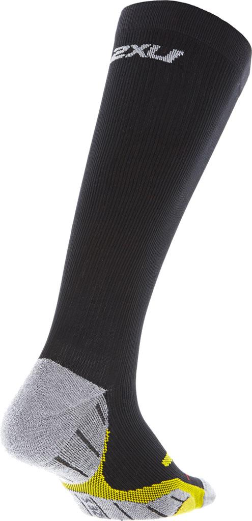 Women's 2XU Flight Compression Sock, Black/Yellow, large, image 2